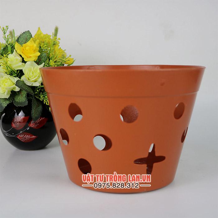 Chậu nhựa trồng lan màu nâu phi 20cm